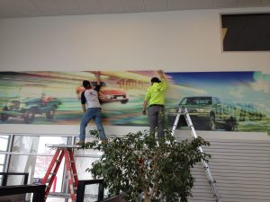 custom wall mural installation